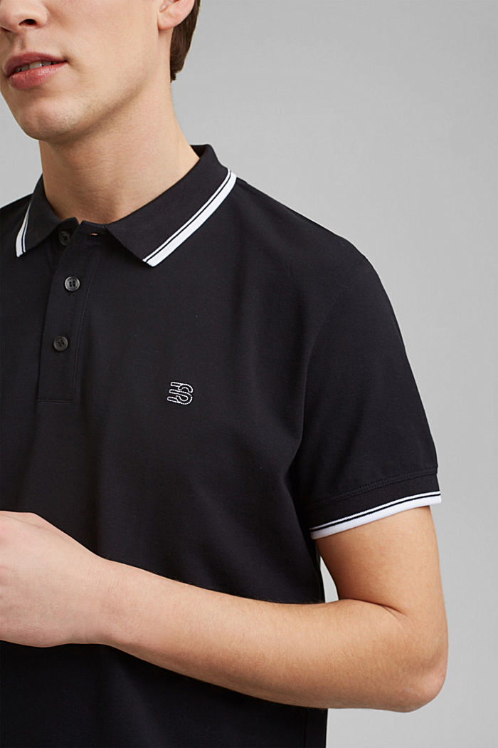 Piqué polo shirt made of 100% organic cotton, BLACK, detail image number 1