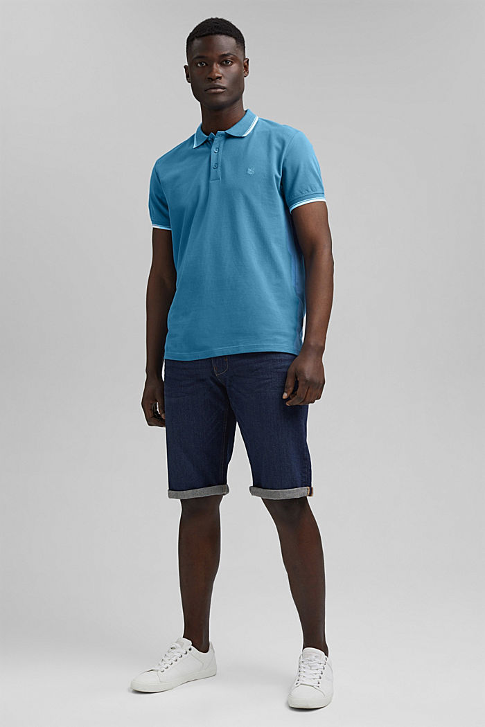 Piqué polo shirt made of 100% organic cotton, PETROL BLUE, detail image number 2