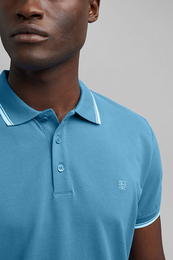 Piqué polo shirt made of 100% organic cotton, PETROL BLUE, detail image number 1