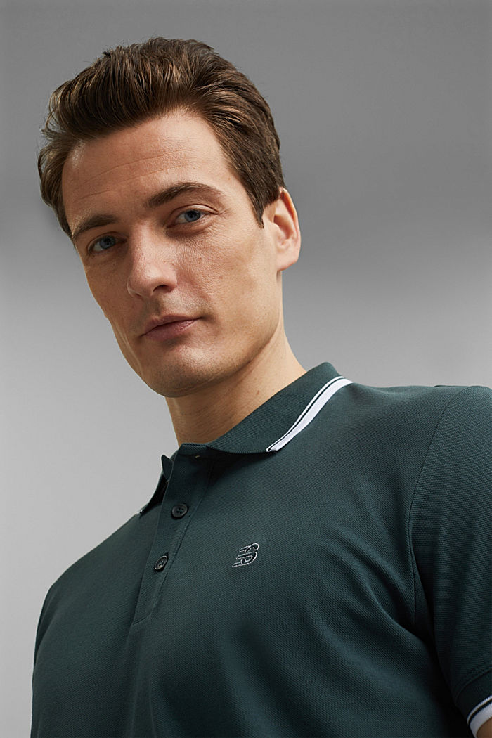 Piqué polo shirt made of 100% organic cotton, TEAL BLUE, detail image number 5