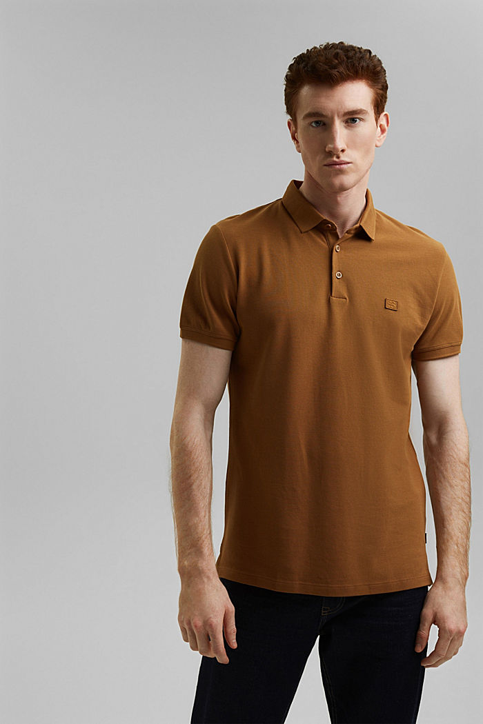 Piqué polo shirt in 100% organic cotton, CAMEL, detail image number 0