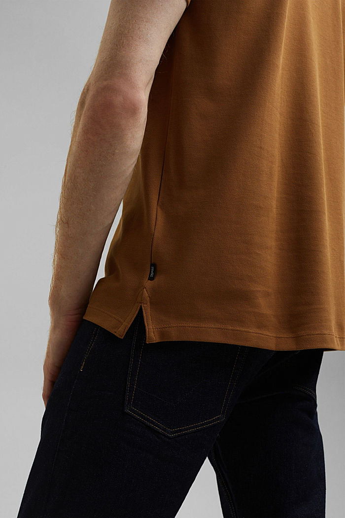 Piqué polo shirt in 100% organic cotton, CAMEL, detail image number 1
