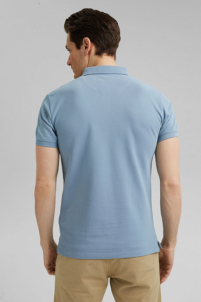 Piqué polo shirt in 100% organic cotton, GREY BLUE, detail image number 3
