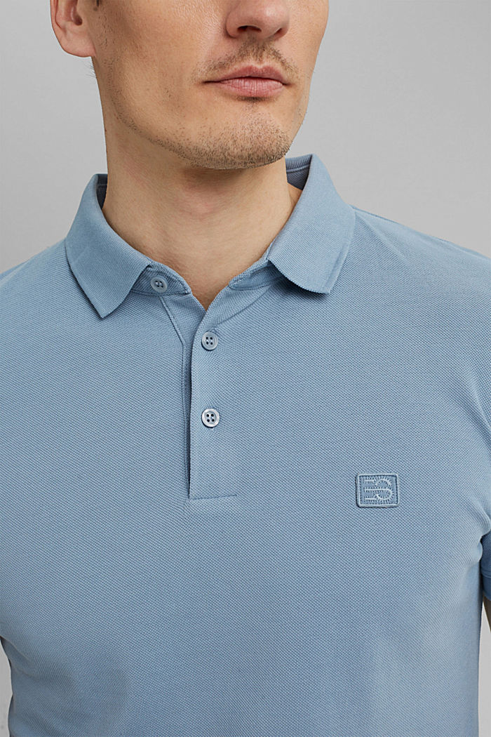 Piqué polo shirt in 100% organic cotton, GREY BLUE, detail image number 1