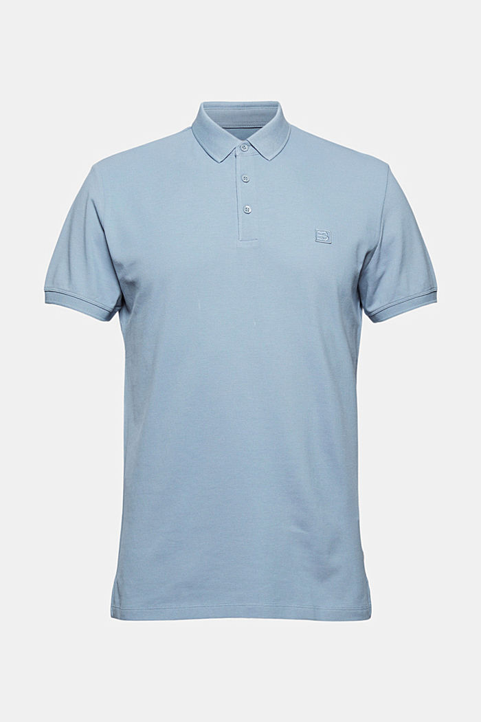 Piqué polo shirt in 100% organic cotton, GREY BLUE, detail image number 4