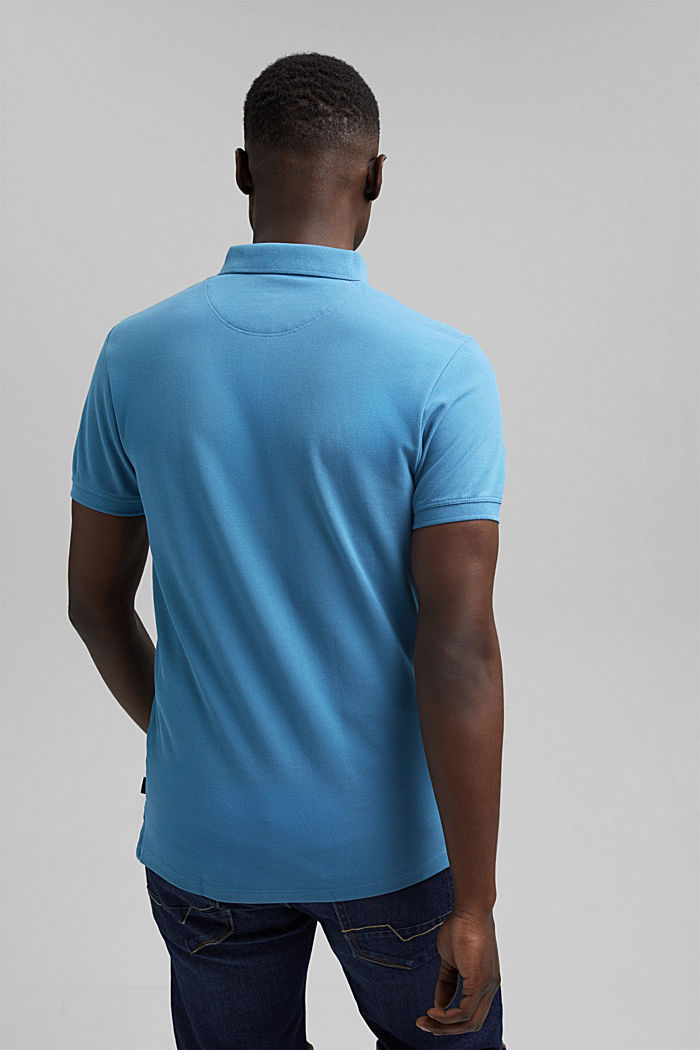 Piqué polo shirt in 100% organic cotton, PETROL BLUE, detail image number 3
