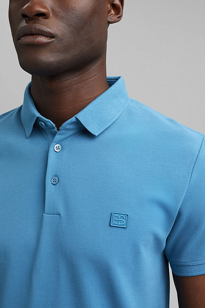 Piqué polo shirt in 100% organic cotton, PETROL BLUE, detail image number 1