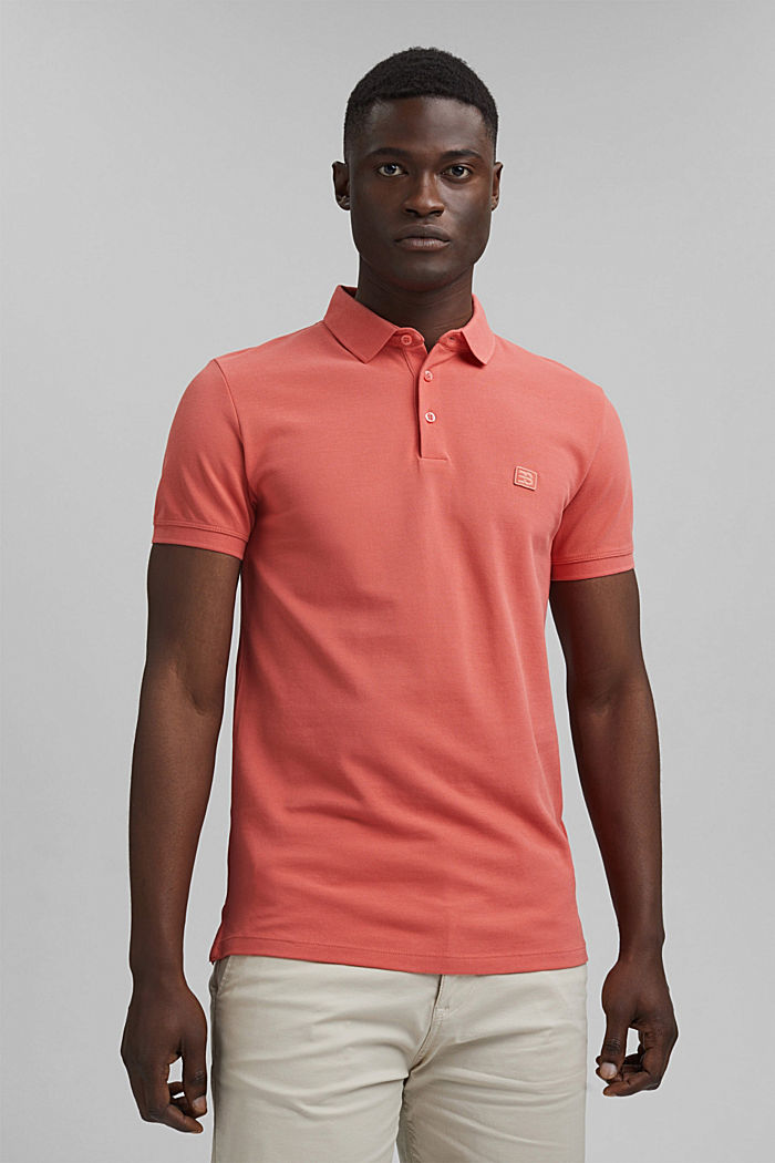 Piqué-Polo aus 100% Bio-Baumwolle, CORAL RED, detail image number 0