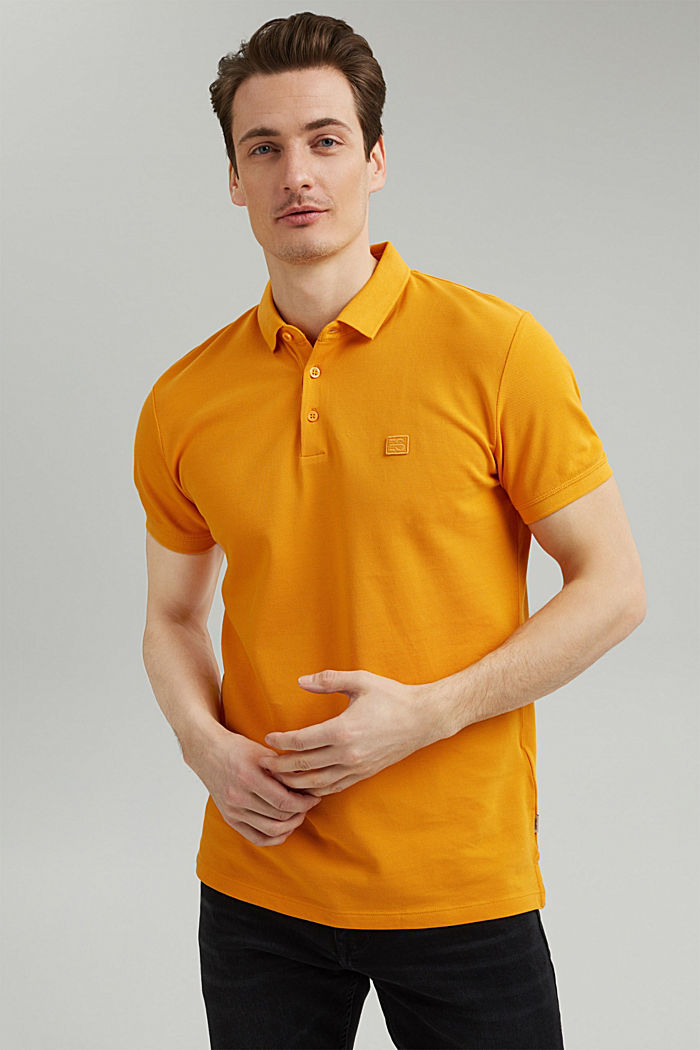 Piqué polo shirt in 100% organic cotton, SUNFLOWER YELLOW, detail image number 0