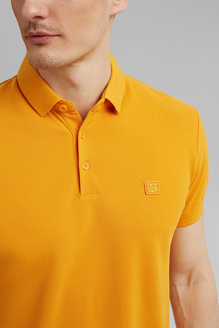 Piqué polo shirt in 100% organic cotton, SUNFLOWER YELLOW, detail image number 1