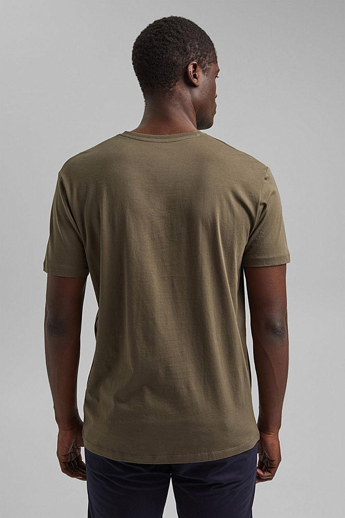 Jersey-T-Shirt aus 100% Bio-Baumwolle, DARK KHAKI, detail image number 3