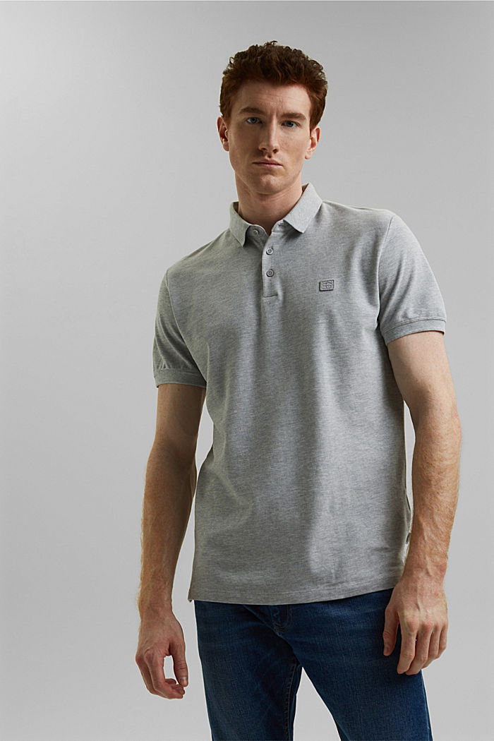 Piqué polo shirt in 100% organic cotton, LIGHT GREY, detail image number 0
