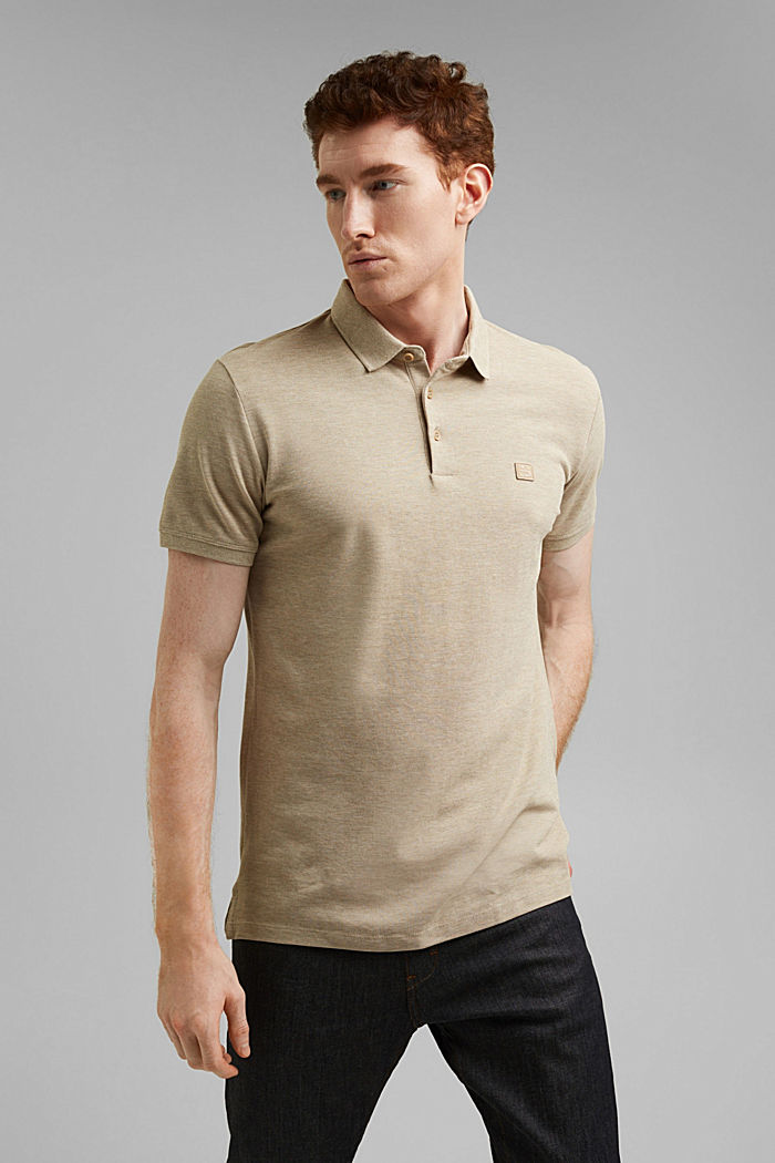 Piqué polo shirt in 100% organic cotton, BEIGE, detail image number 0