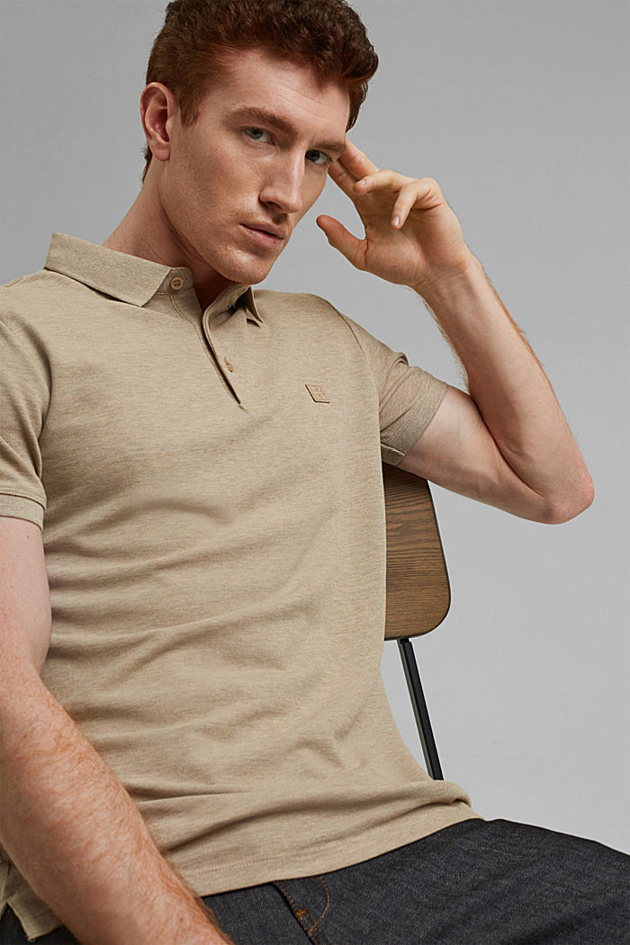 Piqué polo shirt in 100% organic cotton, BEIGE, detail image number 4