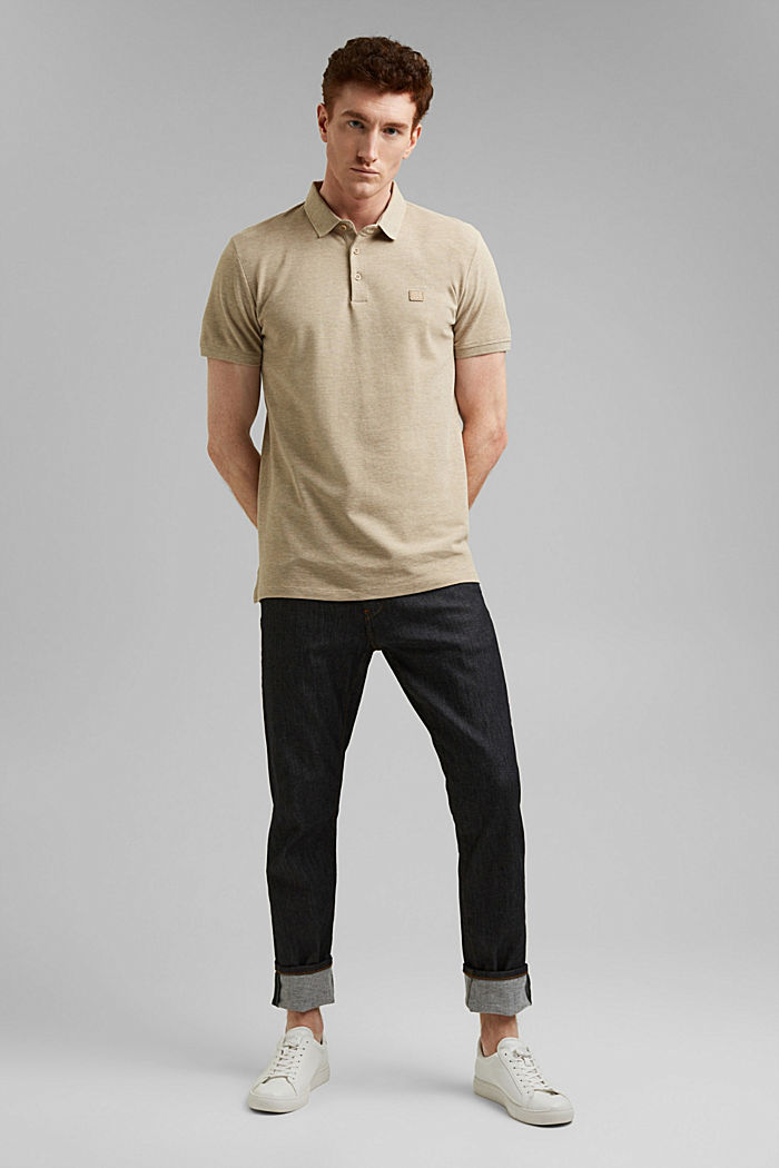 Piqué polo shirt in 100% organic cotton, BEIGE, detail image number 2