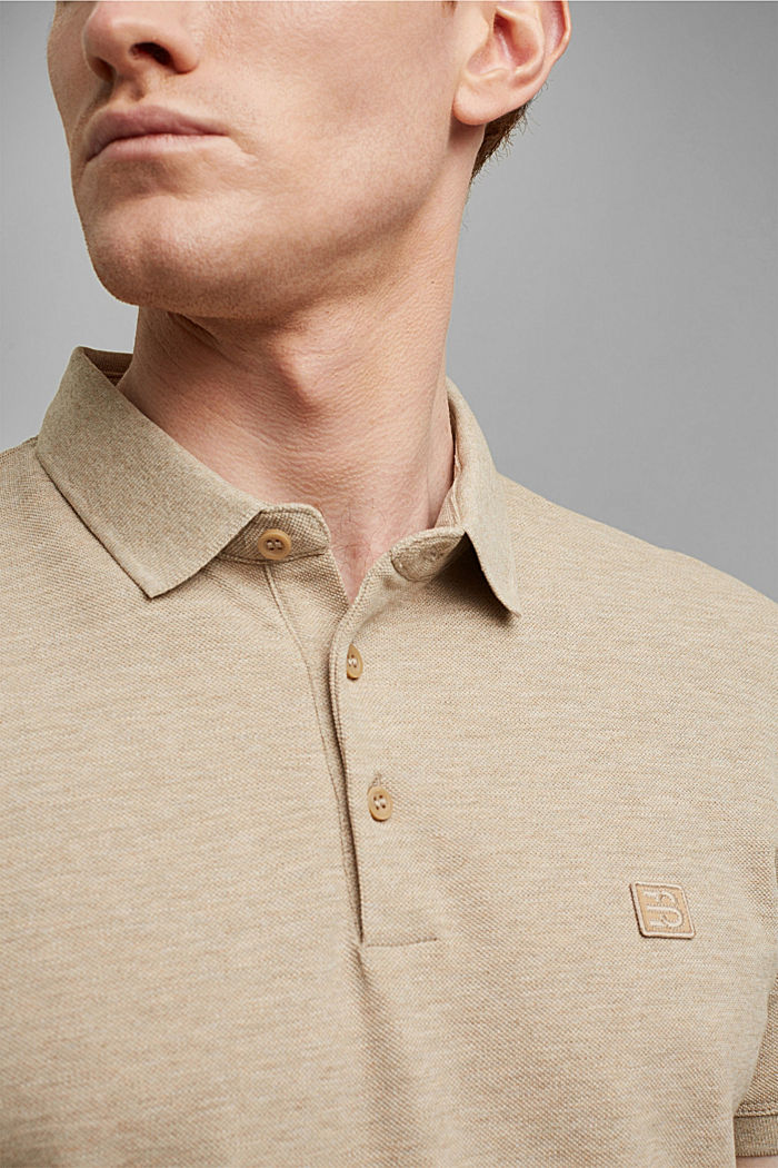 Piqué polo shirt in 100% organic cotton, BEIGE, detail image number 1