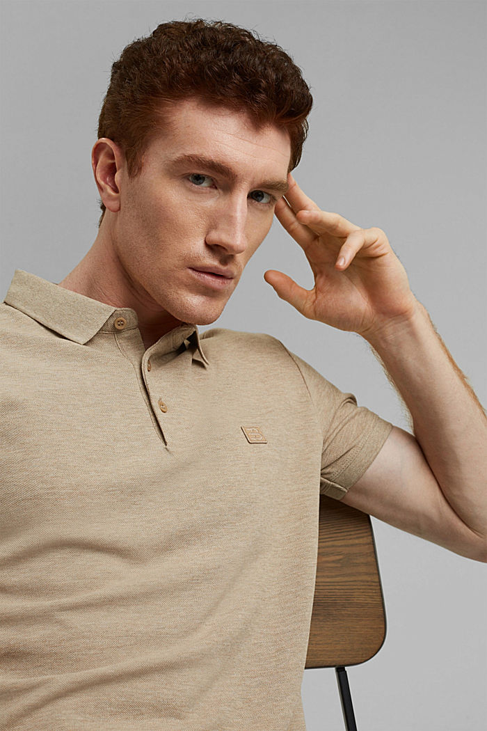 Piqué polo shirt in 100% organic cotton, BEIGE, detail image number 6