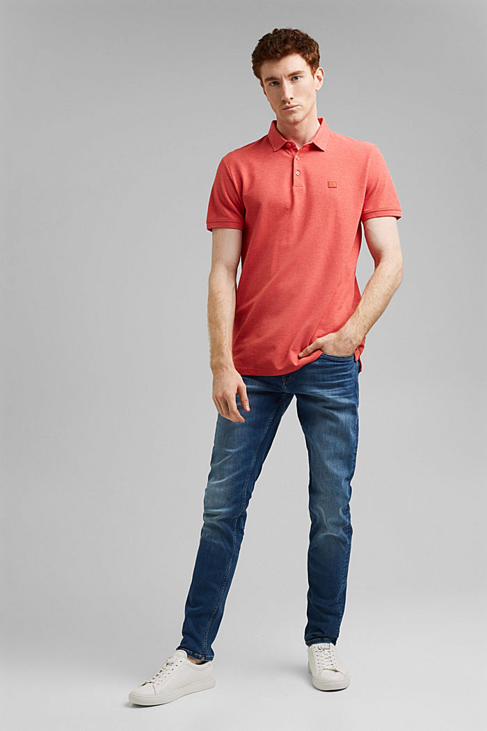 Piqué polo shirt in 100% organic cotton, CORAL RED, detail image number 2