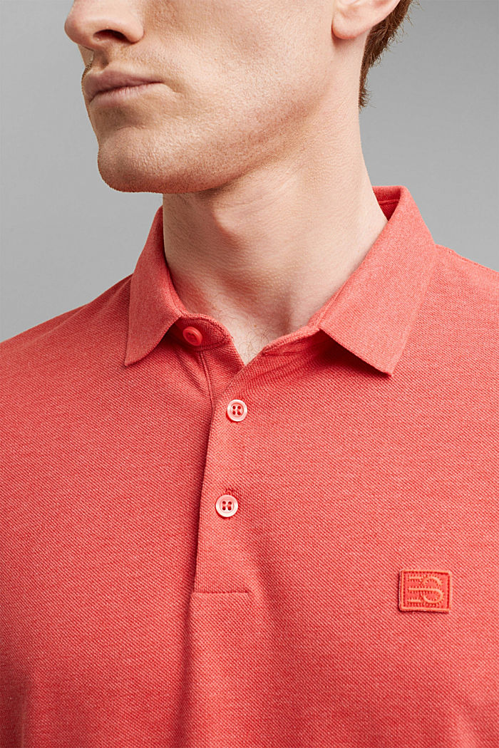 Piqué polo shirt in 100% organic cotton, CORAL RED, detail image number 1