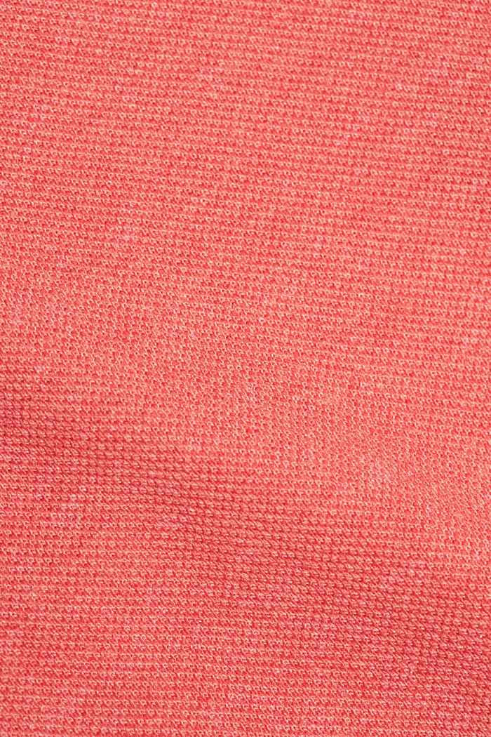 Piqué polo shirt in 100% organic cotton, CORAL RED, detail image number 4