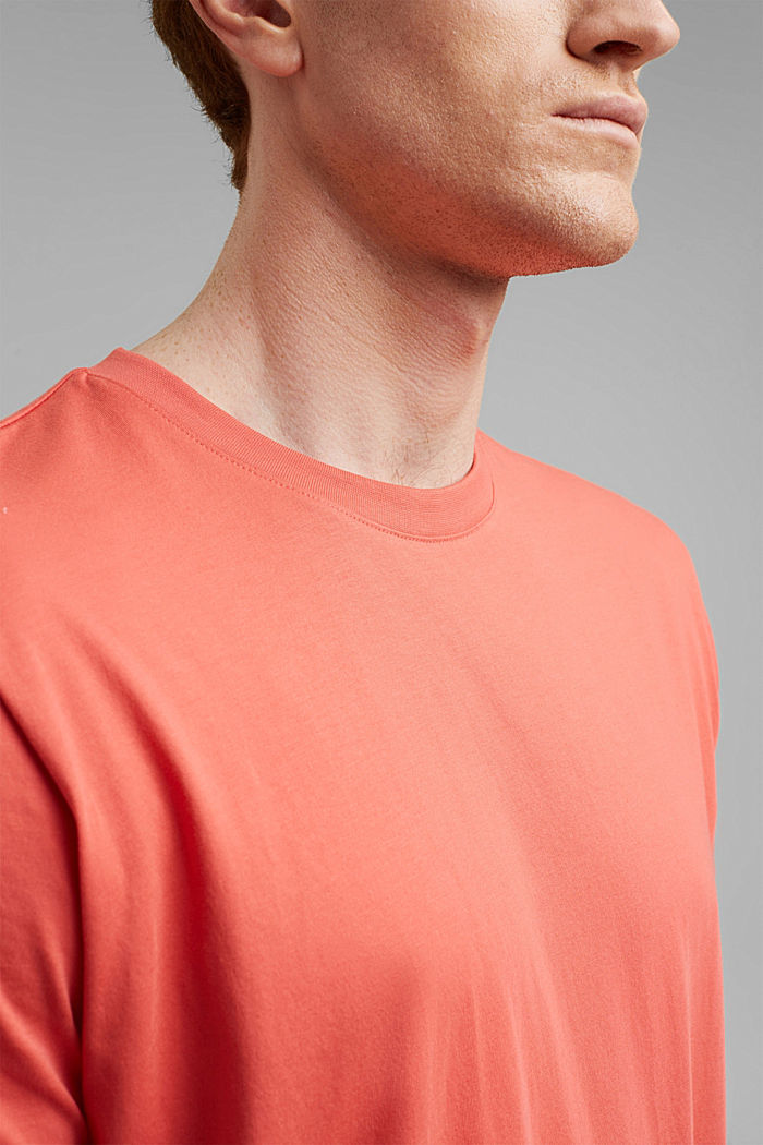 Jersey T-shirt made of 100% organic cotton, CORAL RED, detail image number 1