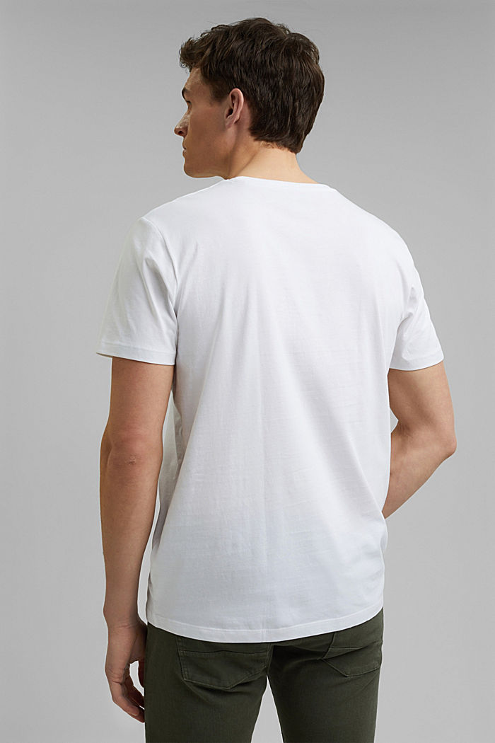 Jersey T-shirt with a logo, organic cotton, WHITE, detail image number 3