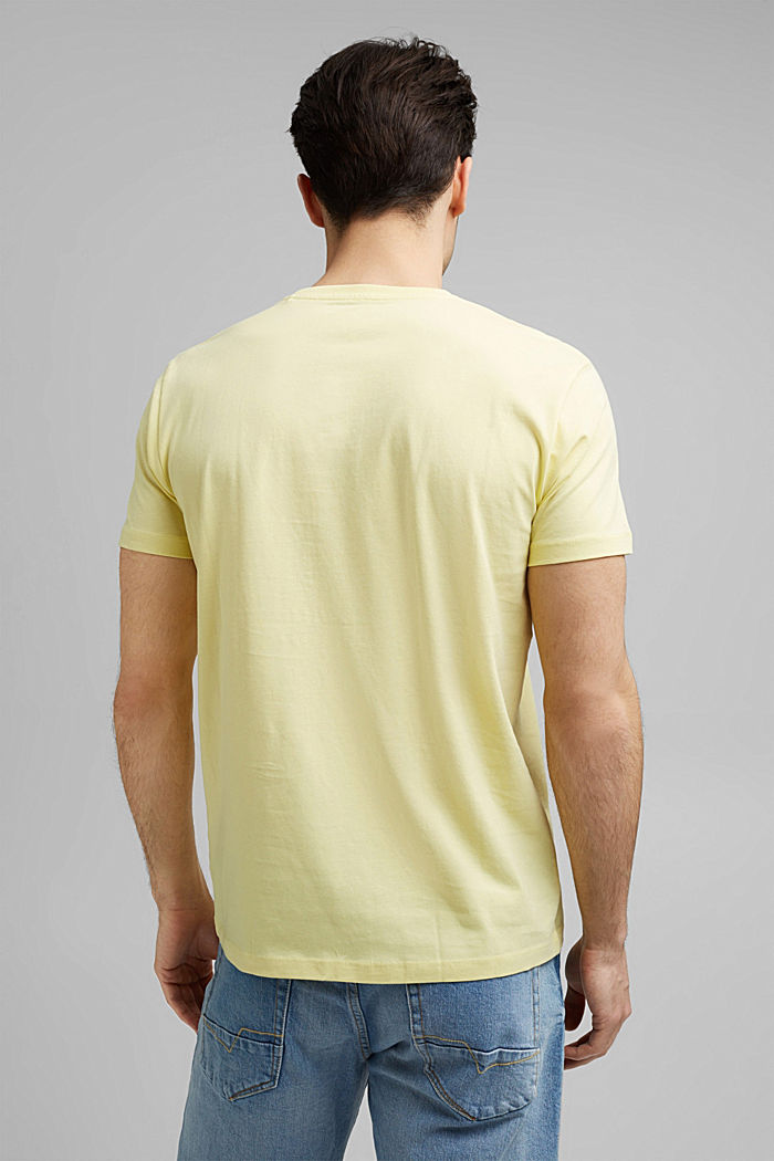 Jersey T-shirt with a logo, organic cotton, LIGHT YELLOW, detail image number 3