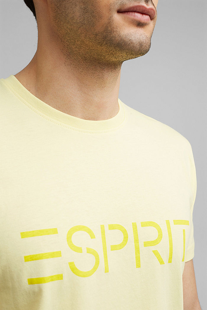 Jersey T-shirt with a logo, organic cotton, LIGHT YELLOW, detail image number 1