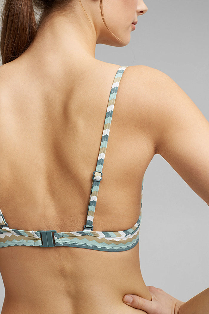Padded underwire bikini top with a zigzag print, LIGHT KHAKI, detail image number 3