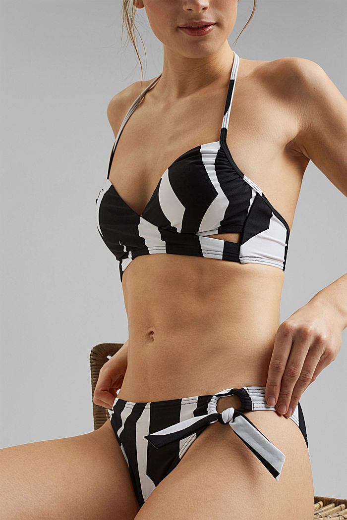 Recycled: mini briefs with a geometric print, BLACK, detail image number 3