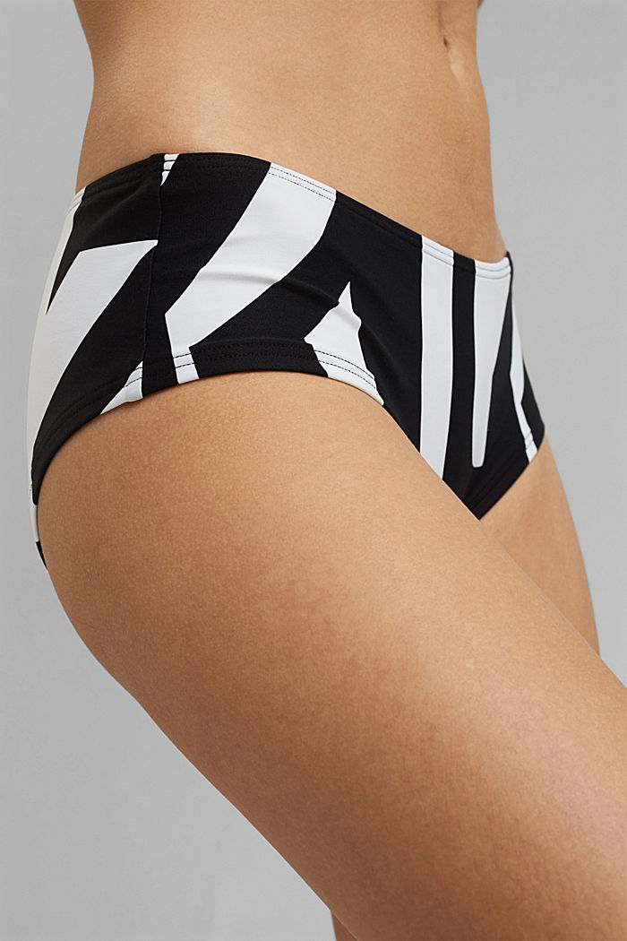 Recycled: hipster shorts with a geometric print, BLACK, detail image number 1
