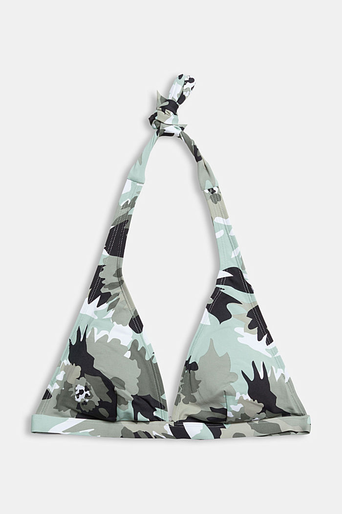 Recycled: printed, padded halterneck bikini top, LIGHT KHAKI, overview
