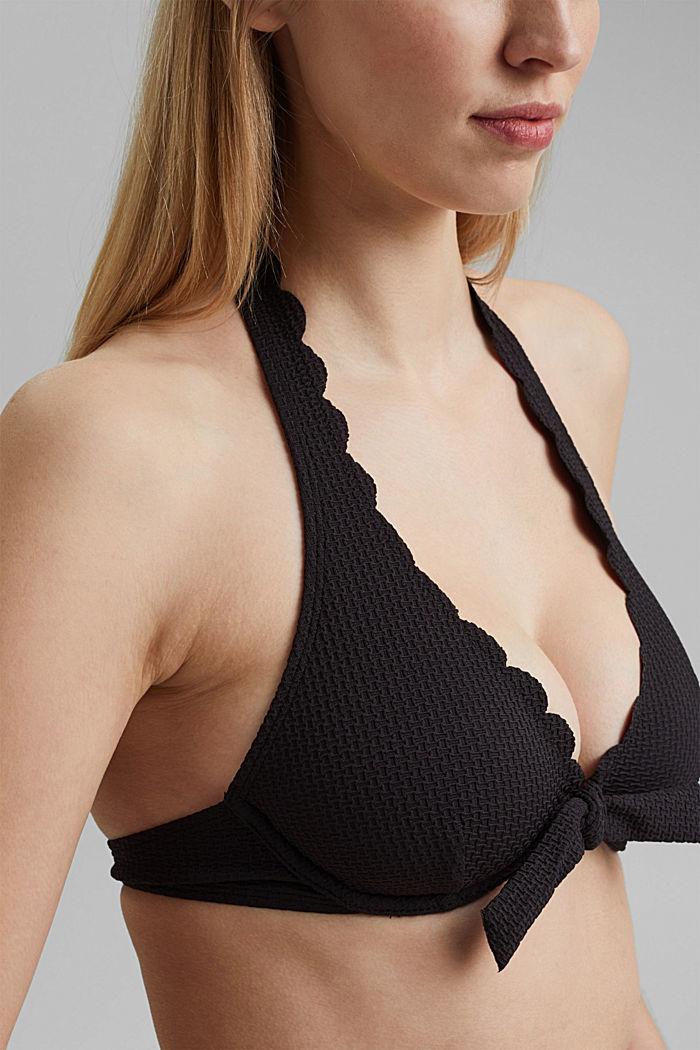 Unwattiertes Neckholder-Top mit Bügel, BLACK, detail image number 3