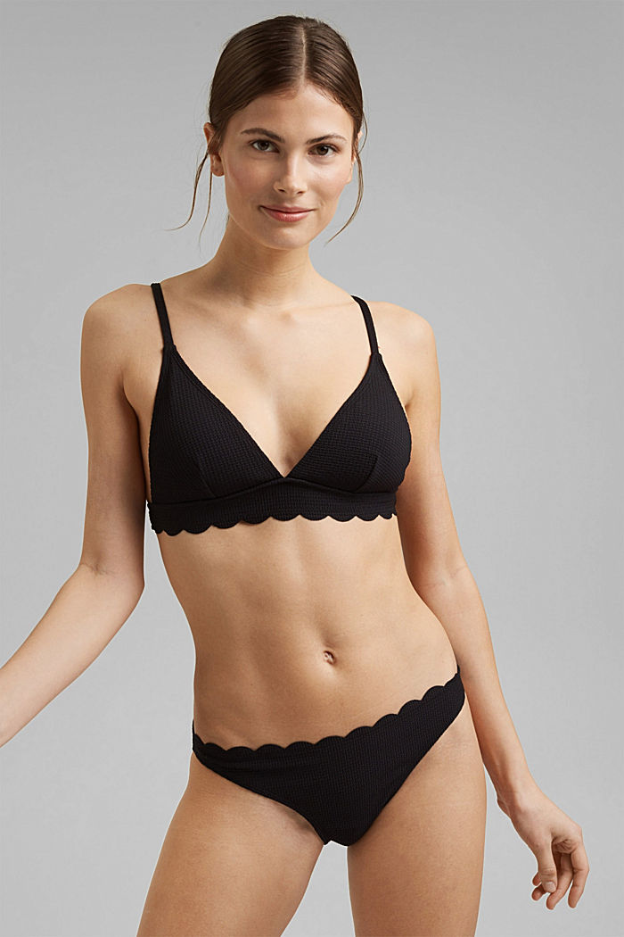 Padded top with texture and a wavy edge, BLACK, detail image number 0