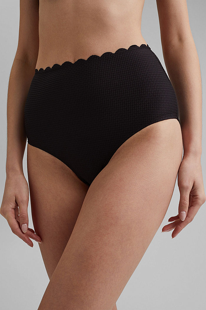 High-waisted briefs with texture, BLACK, detail image number 1