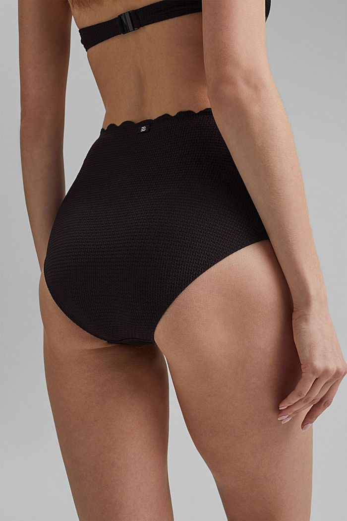 High-waisted briefs with texture, BLACK, detail image number 3