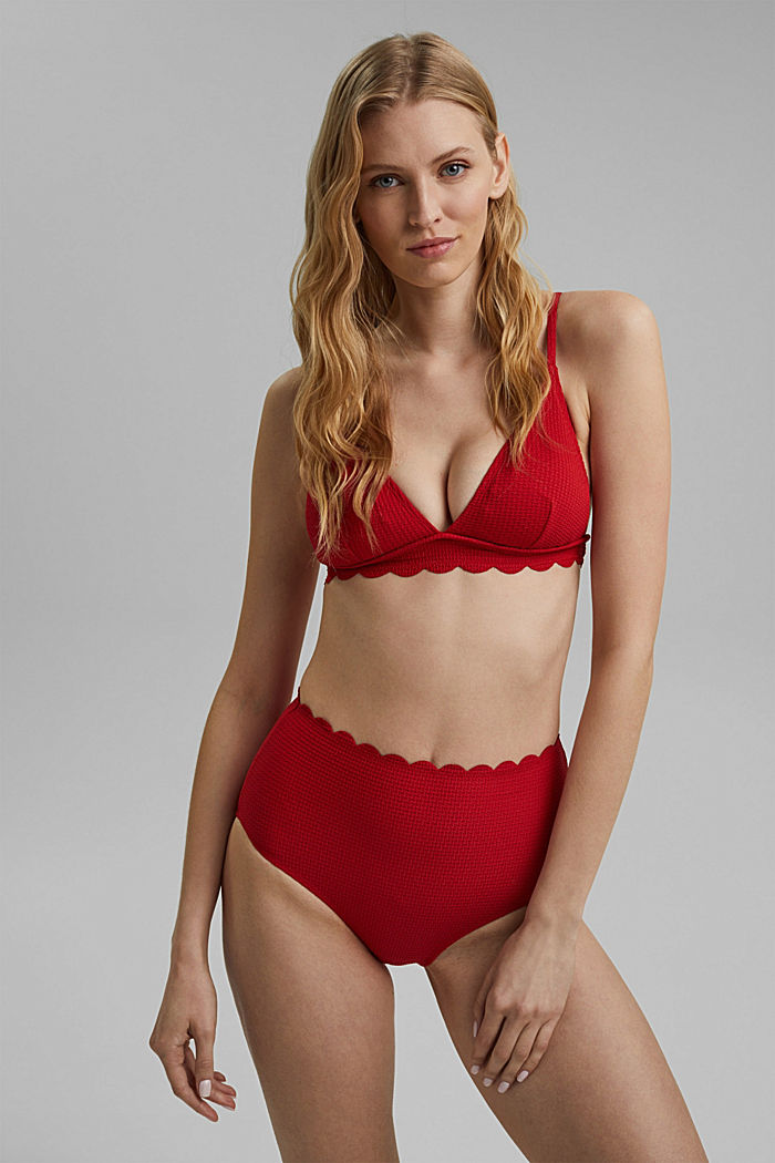 High-waisted briefs with texture, RED, detail image number 0