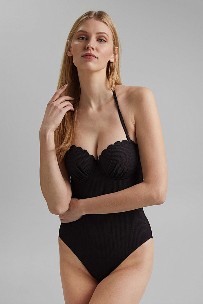 Padded swimsuit with texture, BLACK, detail image number 0