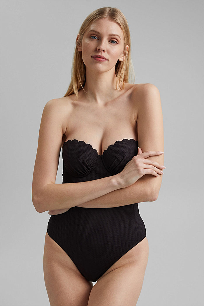 Padded swimsuit with texture, BLACK, detail image number 2