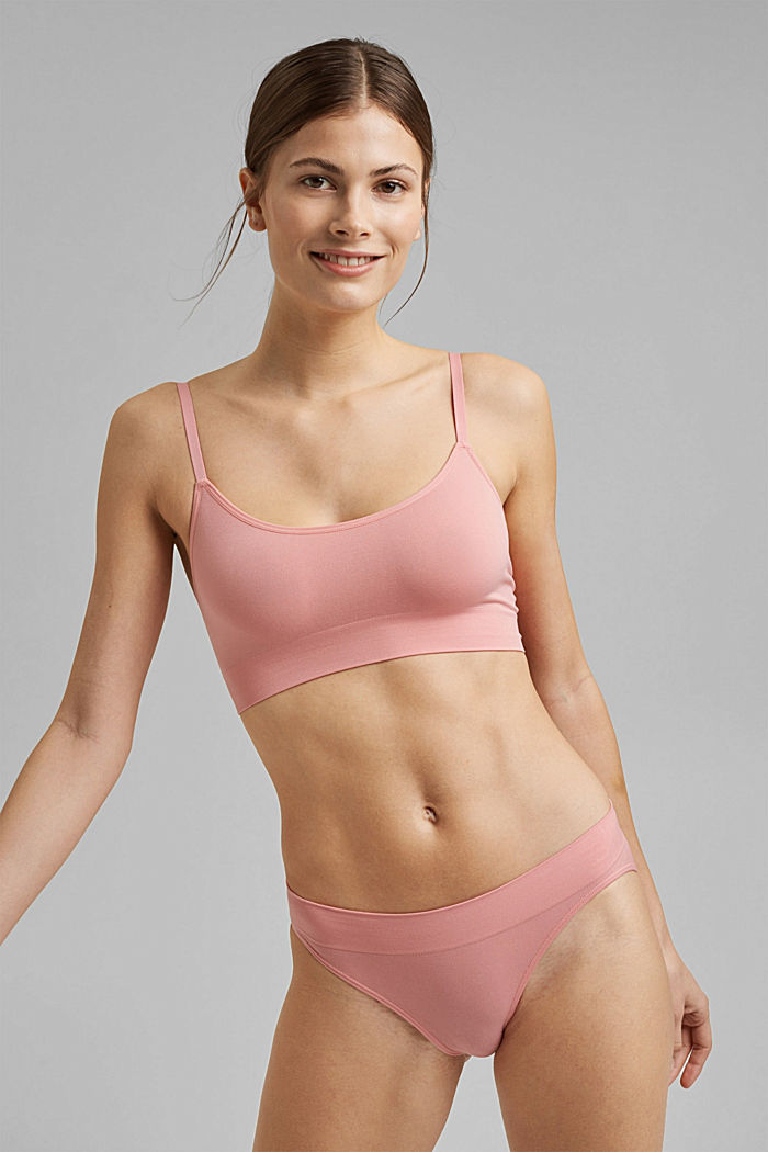 Virtually seamless unpadded bra, CORAL, detail image number 0
