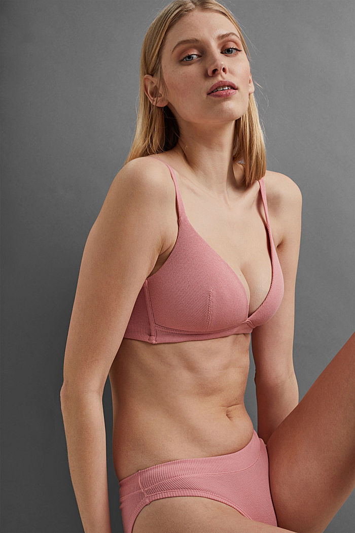 Padded non-wired bra containing organic cotton, CORAL, detail image number 5