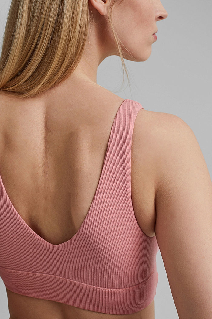 Unpadded, non-wired bra made of organic cotton, CORAL, detail image number 4