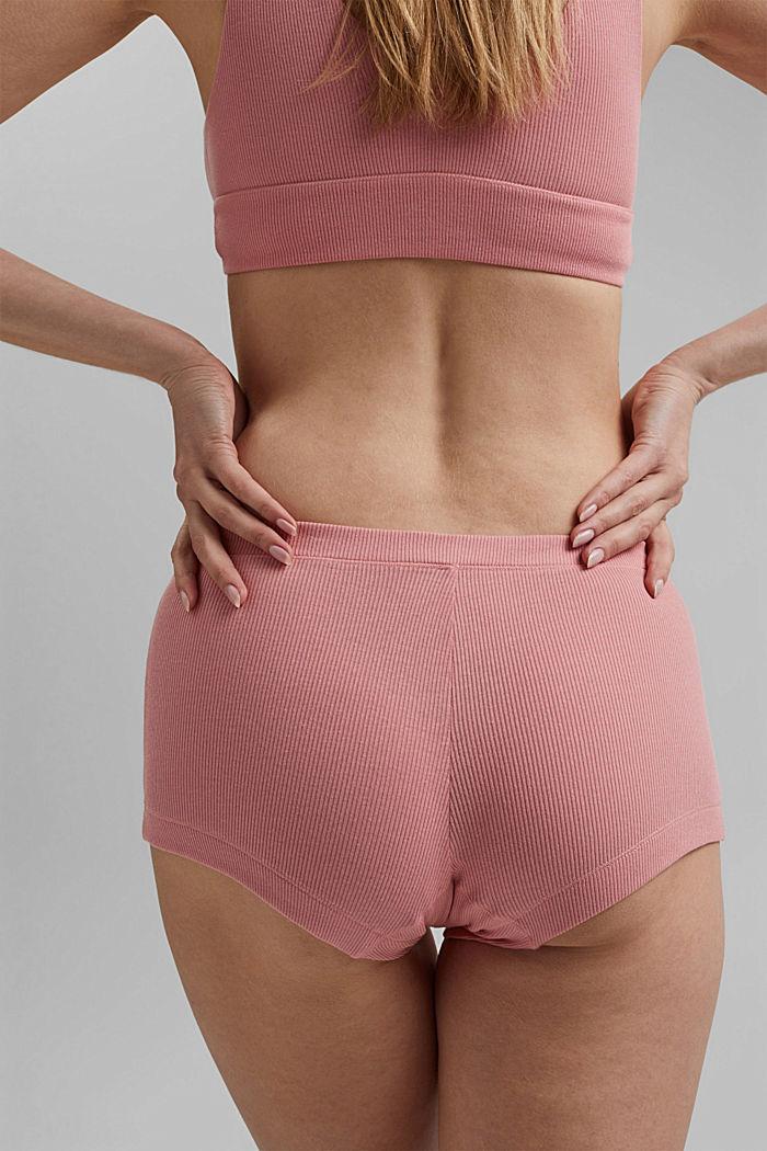 Fine-rib hot pants, organic cotton, CORAL, detail image number 3