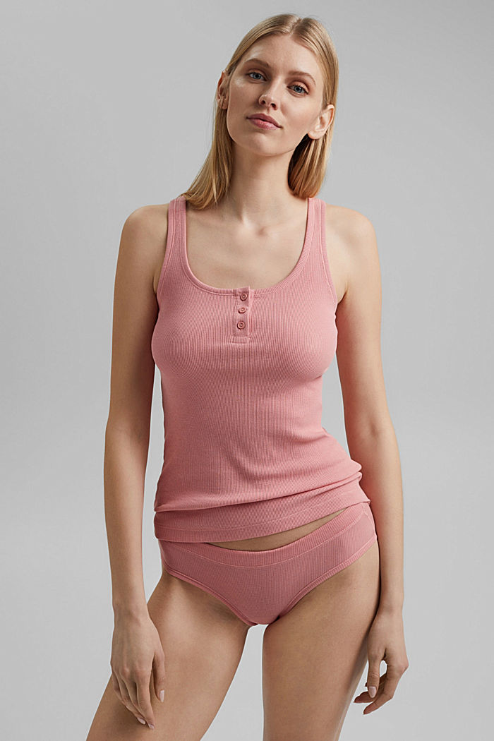 Fine-rib top made of organic cotton, CORAL, detail image number 0