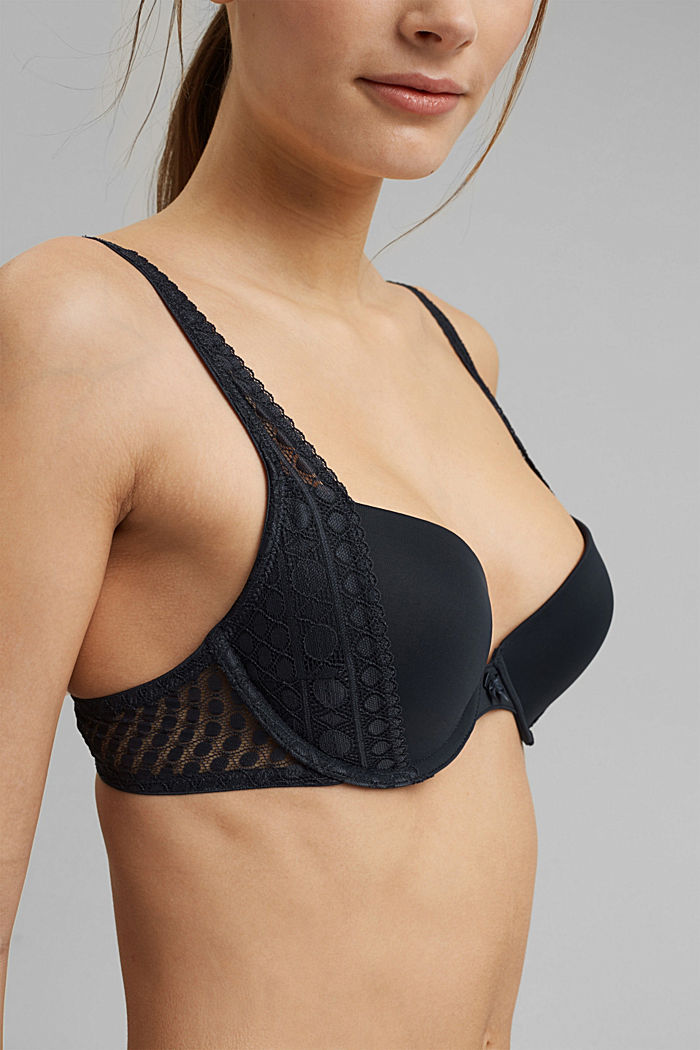 Push-up bra with graphic lace, NAVY, detail image number 2