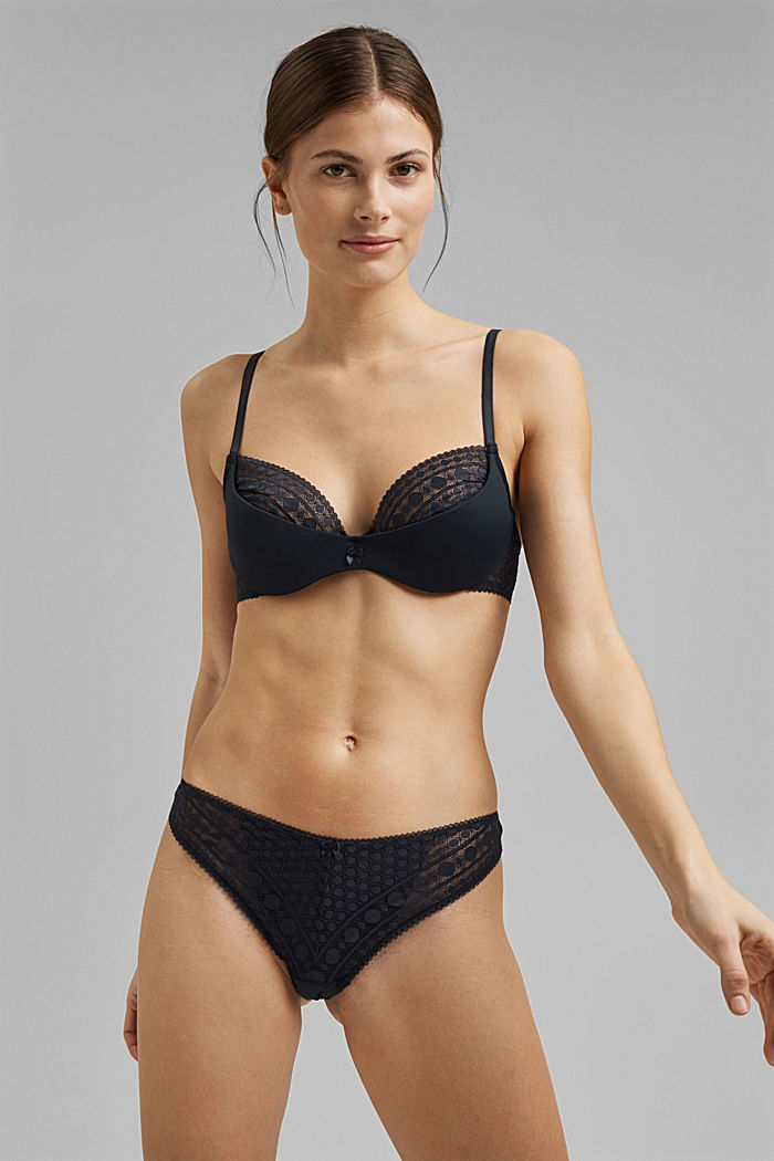 Padded underwire bra in graphic lace, NAVY, detail image number 0