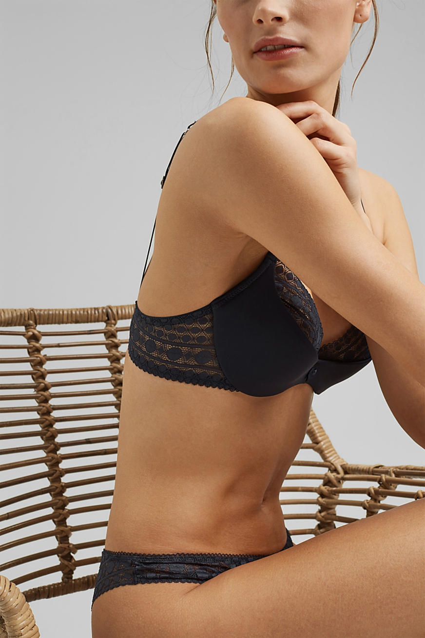 Padded underwire bra in graphic lace