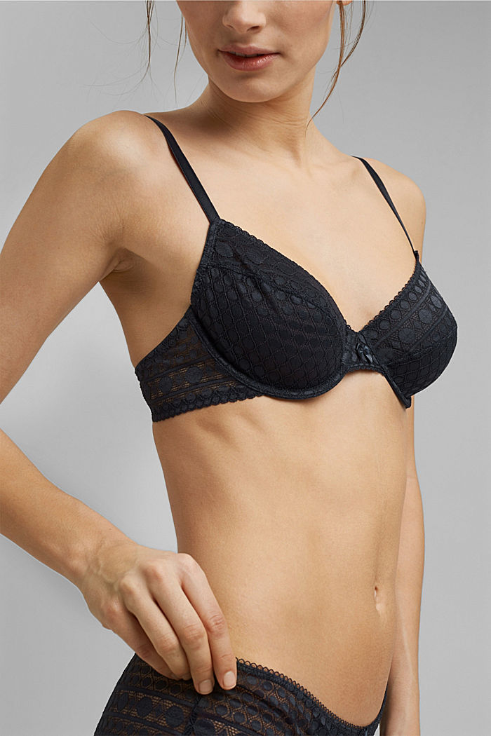 Underwire bra in geometric lace, NAVY, detail image number 2