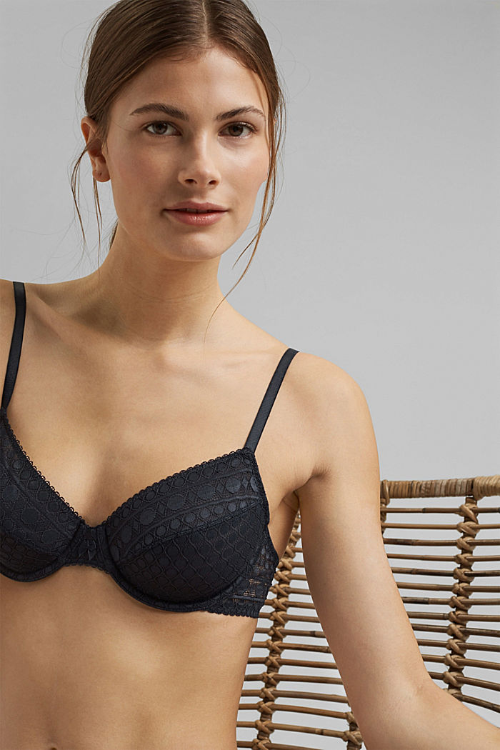 Underwire bra in geometric lace, NAVY, detail image number 4
