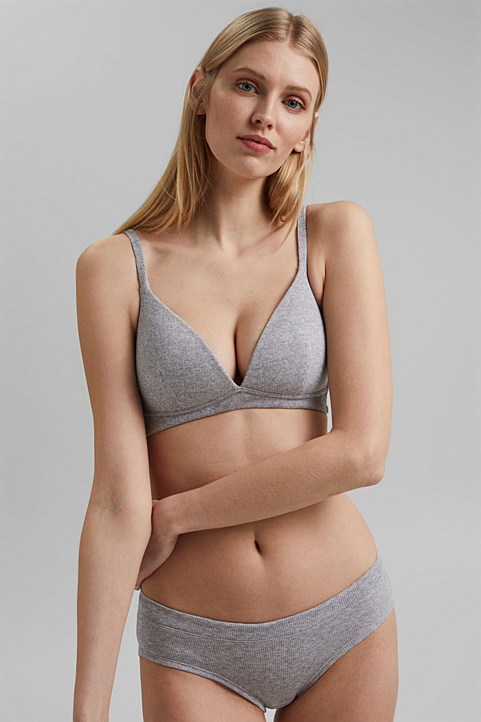 Padded non-wired bra containing organic cotton, MEDIUM GREY, detail image number 0